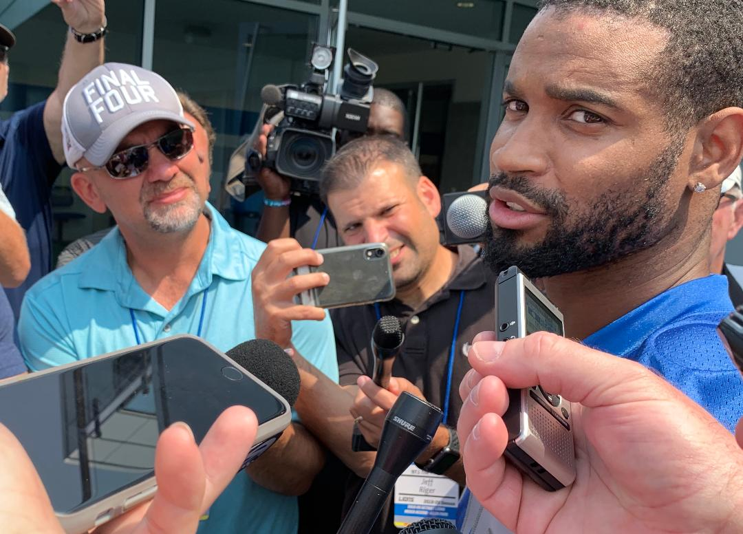 Lions Darius Slay watches 1st day of training camp from sidelines