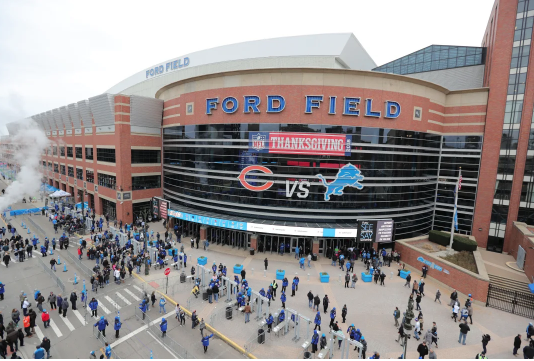 Detroit's Ford Field prior to the 2018 Thanksgiving game between the Detroit Lions and Chicago Bears.