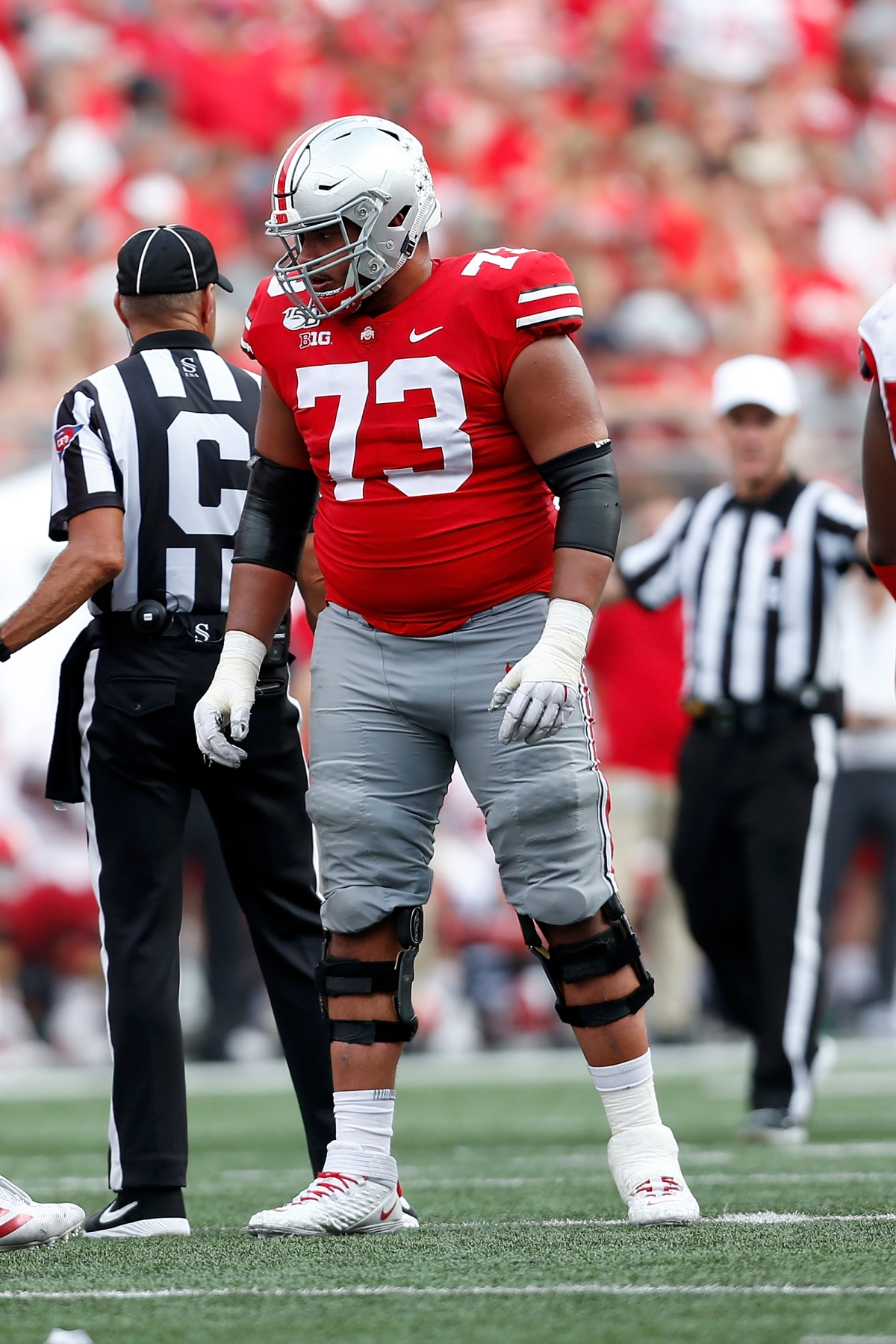 Ohio State guard Jonah Jackson was drafted by the Detroit Lions in the third round of the NFL draft on Friday night.