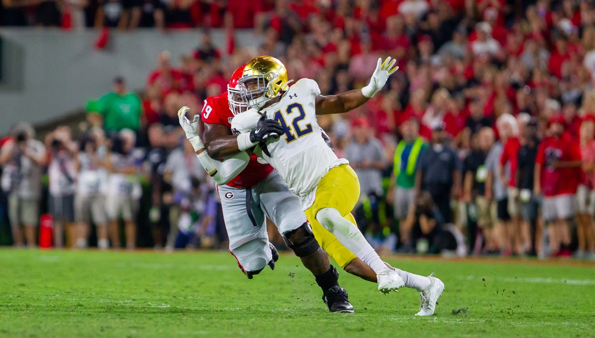 Notre Dame linebacker Julian Okwara was drafted by the Detroit Lions in the third round on Friday night.